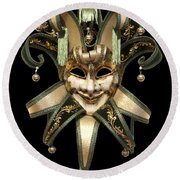 Venetian Mask Round Beach Towel