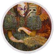 Venetian Masks Round Beach Towel by Valentina Kondrashova