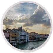 Round Beach Towel featuring the photograph Venetian Sky by Jean Haynes