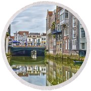 Round Beach Towel featuring the photograph Venetian Vibe In Dordrecht by Frans Blok