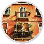 Venetian Windows Round Beach Towel