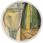 Veneto Pinot Grigio Panel Round Beach Towel
