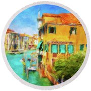 Round Beach Towel featuring the photograph Venezia Afternoon by Connie Handscomb
