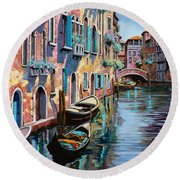 Venezia In Rosa Round Beach Towel