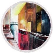 Round Beach Towel featuring the painting Venice 1 by Anil Nene