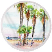 Round Beach Towel featuring the painting Venice Beach California Graffiti Palm Trees by Carlin Blahnik CarlinArtWatercolor