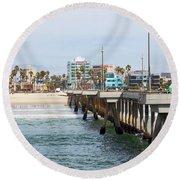 Venice Beach From The Pier Round Beach Towel by Ana V Ramirez