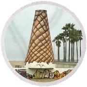 Venice Beach Ice Cream Cone Art Round Beach Towel