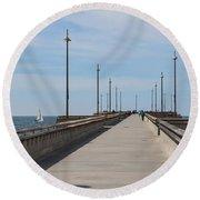Venice Beach Pier Round Beach Towel by Ana V Ramirez