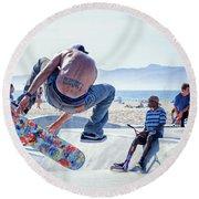 Venice Beach Skater Round Beach Towel