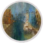 Venice Blue And Yellow Round Beach Towel