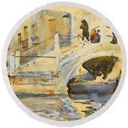 Venice. Bridge With Figures  Round Beach Towel