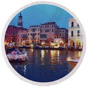 Round Beach Towel featuring the photograph Venice By Night by Anne Kotan