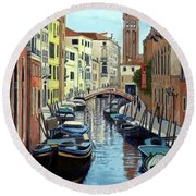 Venice Canal Reflections Round Beach Towel by Janet King