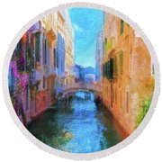 Venice Canal Painting Round Beach Towel