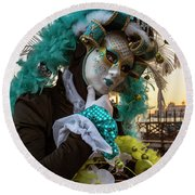 Round Beach Towel featuring the photograph Venice Carnival II '17 by Yuri Santin