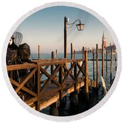 Round Beach Towel featuring the photograph Venice Carnival IIi '17 by Yuri Santin