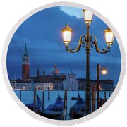 Round Beach Towel featuring the photograph Venice Dawn V by Brian Jannsen