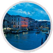 Round Beach Towel featuring the photograph Venice Evening by Eric Tressler