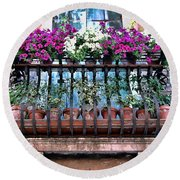 Round Beach Towel featuring the photograph Venice Flower Balcony by Allen Beatty