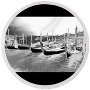 Round Beach Towel featuring the photograph Venice Gondolas Silver by Rebecca Margraf
