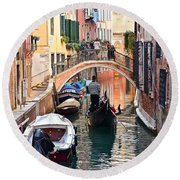 Venice Gondolier Round Beach Towel by Frozen in Time Fine Art Photography