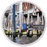 Round Beach Towel featuring the photograph Venice Grand Canal by Allen Beatty