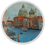 Venice Grand Canal I Round Beach Towel