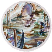 Round Beach Towel featuring the painting Venice Impression I by Xueling Zou