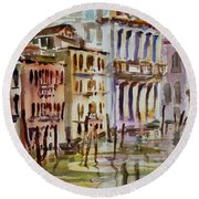 Round Beach Towel featuring the painting Venice Impression II by Xueling Zou