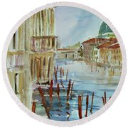Round Beach Towel featuring the painting Venice Impression IIi by Xueling Zou