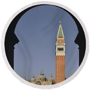Venice In A Frame Round Beach Towel