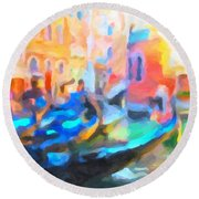 Round Beach Towel featuring the painting Venice, Italy by Chris Armytage