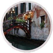 Venice Italy - The Cheerful Christmassy Restaurant Entrance Bridge Round Beach Towel by Georgia Mizuleva