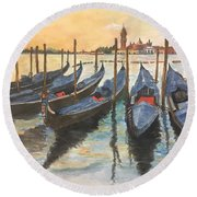 Round Beach Towel featuring the painting Venice by Lucia Grilletto