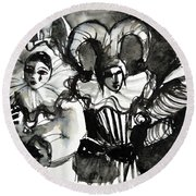 Venice Masks Trio Round Beach Towel
