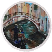 Venice Morning Round Beach Towel