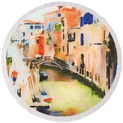 Venice On Waters Round Beach Towel