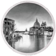 Venice Pencil Drawing Round Beach Towel