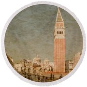 Round Beach Towel featuring the photograph Venice, Italy - Piazza San Marco by Mark Forte
