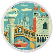 Venice Retro Travel Poster Round Beach Towel