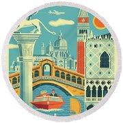 Venice Retro Travel Poster Round Beach Towel