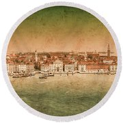 Round Beach Towel featuring the photograph Venice, Italy - Riva Degli Schiavoni by Mark Forte