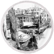 Venice Sketches. Vaporetto Jetty Round Beach Towel by Igor Sakurov