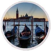 Venice Sunrise With Gondolas Round Beach Towel