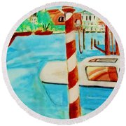 Venice Travel By Boat Round Beach Towel