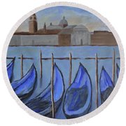 Round Beach Towel featuring the painting Venice by Victoria Lakes