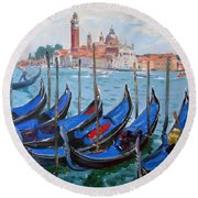 Venice View Of San Giorgio Maggiore Round Beach Towel