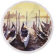 Round Beach Towel featuring the painting Venice Watercolor- Italy by Ryan Fox