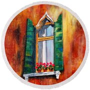 Venice Window Round Beach Towel